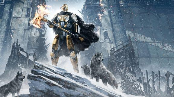 Key art of a Guardian with wolves from <i>Destiny: Rise of Iron</i>)