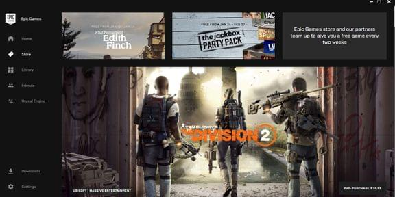 Screenshot of Epic Games Store featuring Ubisoft's The Division 2
