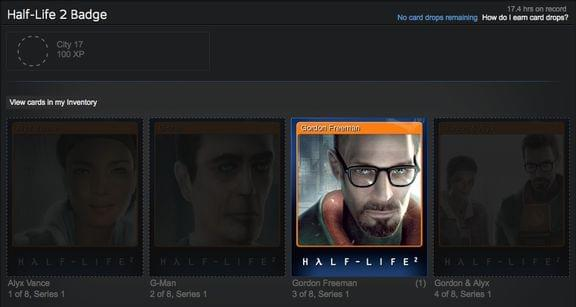 Screenshot of Half-Life 2 cards