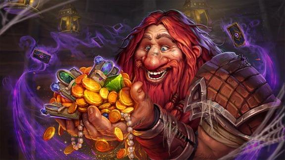 The Hearthstone inn-keeper dwarf holding on to gold money